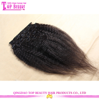Fashionable 6A Grade Virgin Mongolian Human Hair Kinky Straight Clip In Hair Extensions