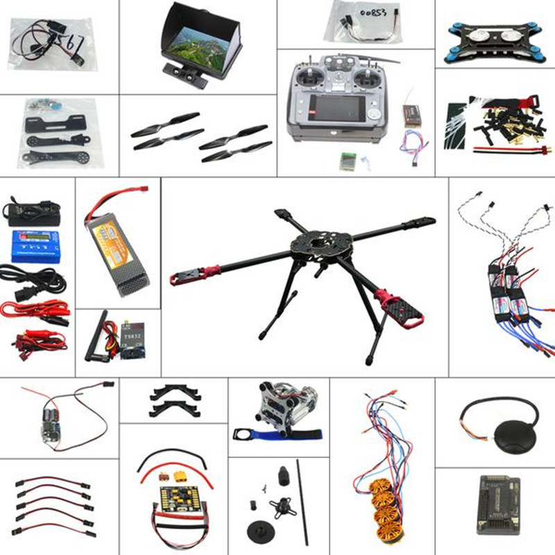 4-axle Helicopter Parts Foldable Frame Kit Carbon Fiber Propellers with FPV Function RadioLink AT10 Transmitter F09003-F