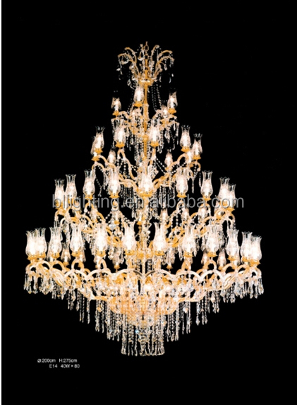 High ceiling classic crystal staircase chandeliers