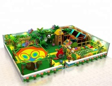 2018 New design jungle theme indoor playground equipment with crocheted playground trampoline park ball bit challenge course