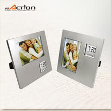 Photo frame insert clock with alarm and calendar