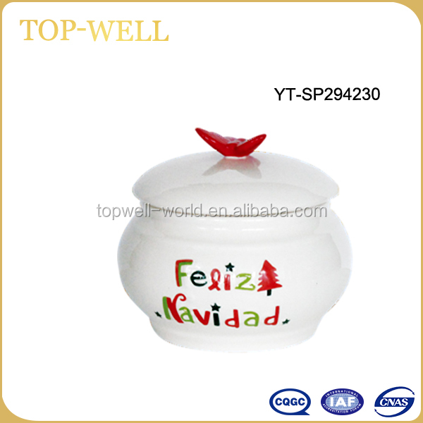 Hot soup restaurant Christmas ceramic soup jar bowl with spoon