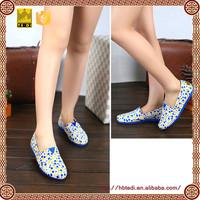White blue yellow spots canvas shoes