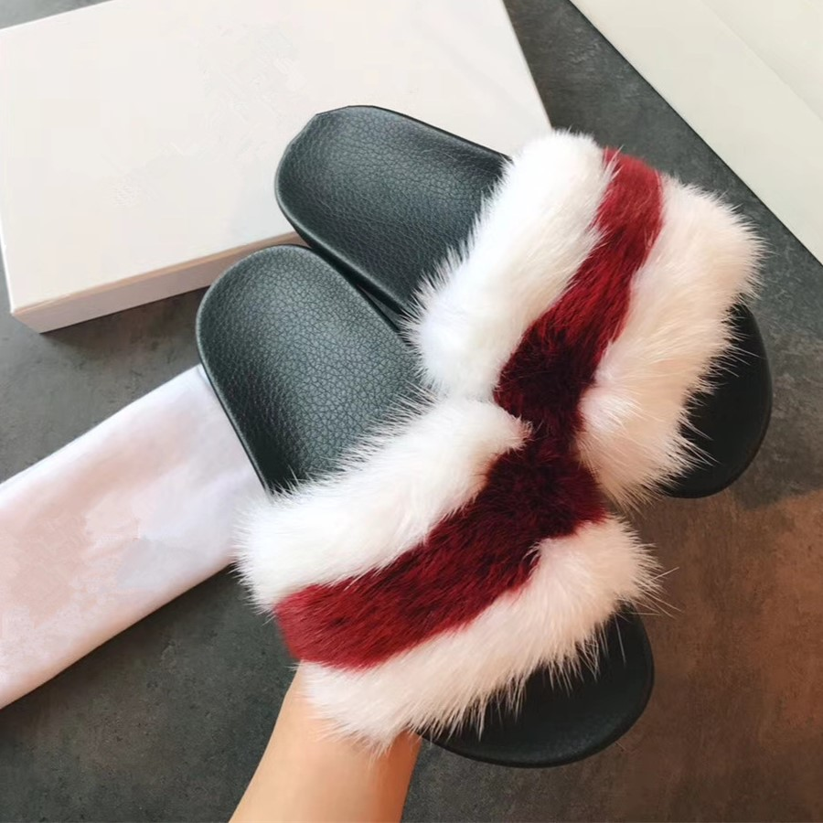 2018 Wholesale New Design Women Fashion Mink Fur <strong>Slippers</strong>