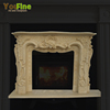 Indoor Used Marble Stone Beige Fireplace Mantel Surround Price