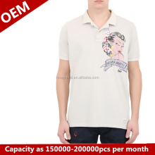 customize mens white short sleeve polo t shirt printing logo on breast