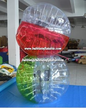 Half Half Red Bubble Football/Bubble Ball with Clear in Front B1076