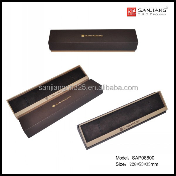 OEM universal brown paper with velvet oblique opening jewelry box