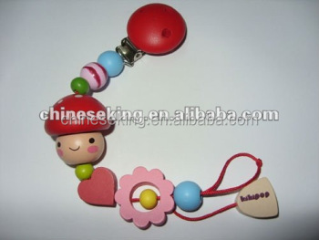 baby wood bead pacifier clips custom wood pacifier chain baby accessories from yiwu