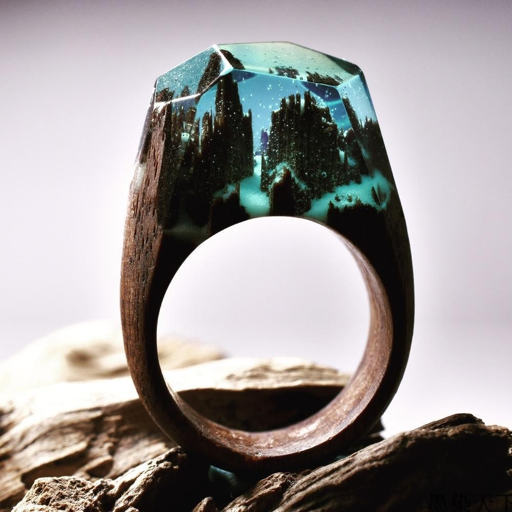 Handmade Wholesale Hot Exquisite Secret Wood Resin Rings for couple Jewelry