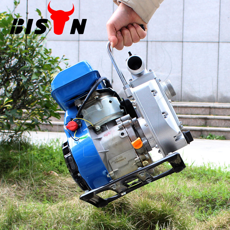 BISON China Single Cylinder Agricultural Portable Mini Gasoline Water Pump with Wheels