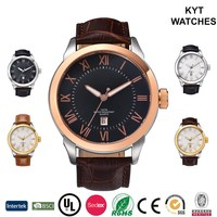 KYT classic trend design oversized markers luminous hands excellence japan movement leather strap mens watch