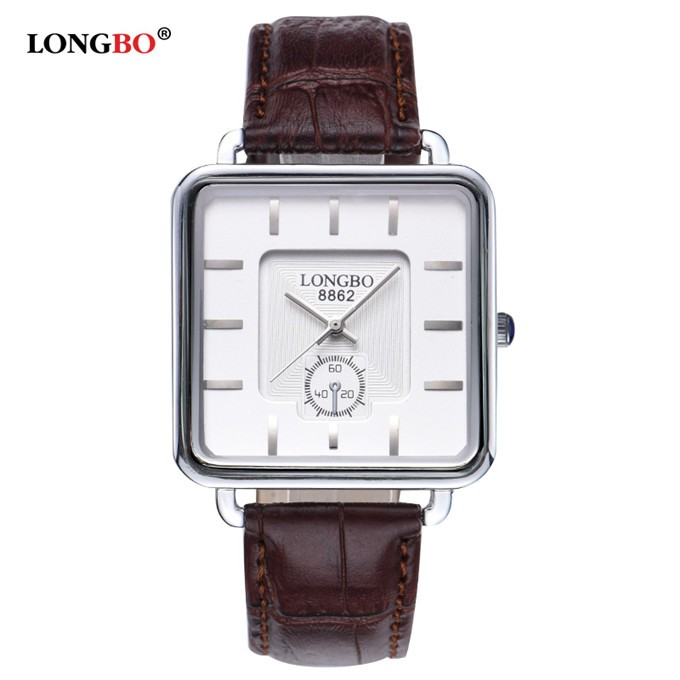 LongBo handmade Square shape case Business men white colour watches