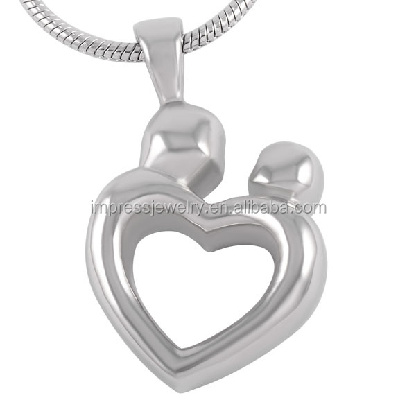 IJD8260 Heart Shape Memorial Pendant Jewelry for Ashes Keepsake Mother and Child Stainless Steel cremation urn necklace jewelry