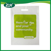 manufacturing custom white die cut plastic bag with patch handle