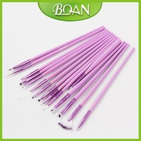 2015 Hot Sale 15 Pcs Purple Wood Handle Professional Nail Brush Set