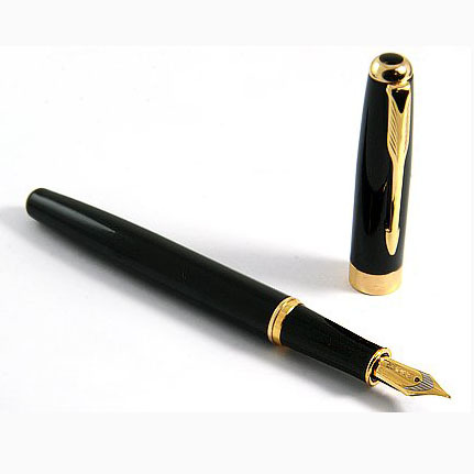 Baoer Black Classic Ciger Golden Ring Fountain Pen Stylish with Push in Style Ink Converter JD-SL007