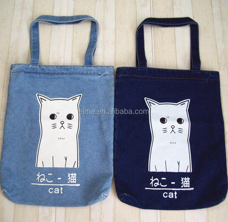 Casual blue denim jean tote bag for women in stock