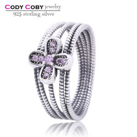 Wholesale Designer 925 Sterling Silver Rings For Women Wide Braided Ring With Flower Pave White Pink Purple CZ Jewelry Fashion