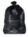 Recyclable black plastic garbege bag on roll