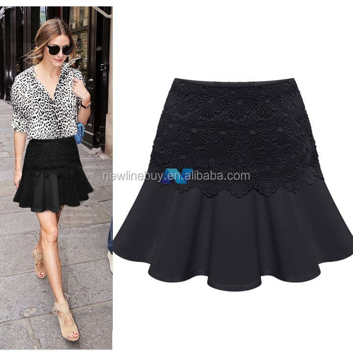 New Womens Lace Splicing Pencil Skirt OL Ladies High Waist Casual Party Short Skirt
