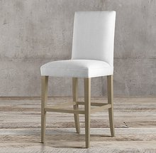 High legs fabric cushion and backrest wooden dining chair design