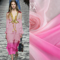 100%silk ombre gradient nude pink printed silk chiffon fabric in stock wholesale