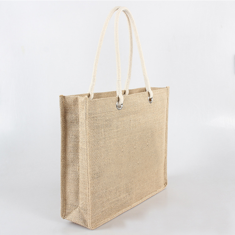 China Factory Jute Tote Bags Natural Reusable Grocery Totes Laminated Interior Full Gusset