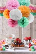 Tissue Paper Pom Poms Flowers + Hanging Garland Four-Leaf + Honeycomb Balls for Wedding Party Decoration Birthday Kids
