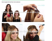HOT in USA !!! Comfortable Halo Hair Brand,Free Comb,Fish wire With Lace American hot sale flip halo hair extension
