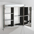 Stylish Stainless Steel Two Door Bathroom Mirror Cabinet With Light 7060