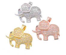 2017 Wholesale Copper Elephant Charm crystal pendant for necklace
