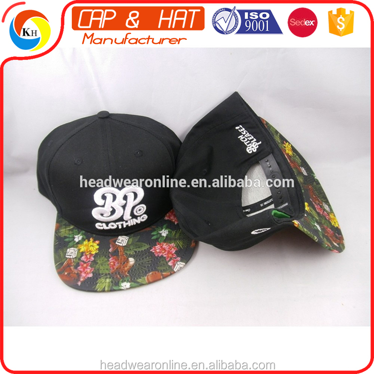 2016 custom 100% cotton snapback cap and hat with 3d embroidery LOGO