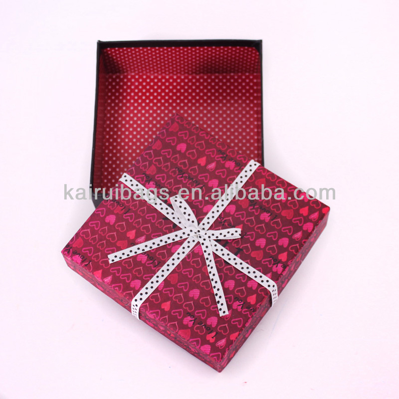 Exquisite paper box design beautiful White Ribbons Decorated Square Paper Box