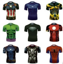 Wholesale Sport Wear Short sleeves 3D Print Avengers Superhero Breathable Cycling Quick-dry Sports T-Shirt
