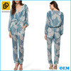 Relaxed fit wrap-style front leaf pattern sheer women jumpsuit 2014
