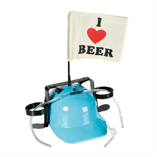 Drinking I Love Beer helmet with straws-Blue