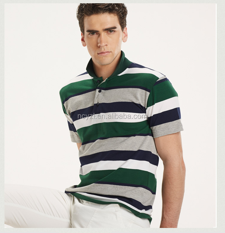 high quality fabric 100% cotton golf stripe Polo shirt for men