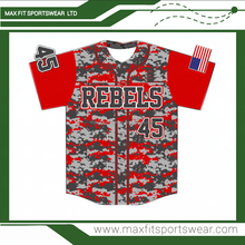 custom sublimated digital camo baseball jersey full button baseball jersey