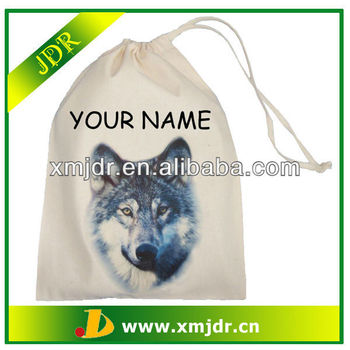 Wolf Head Design Natural Cotton Drawstring Bag