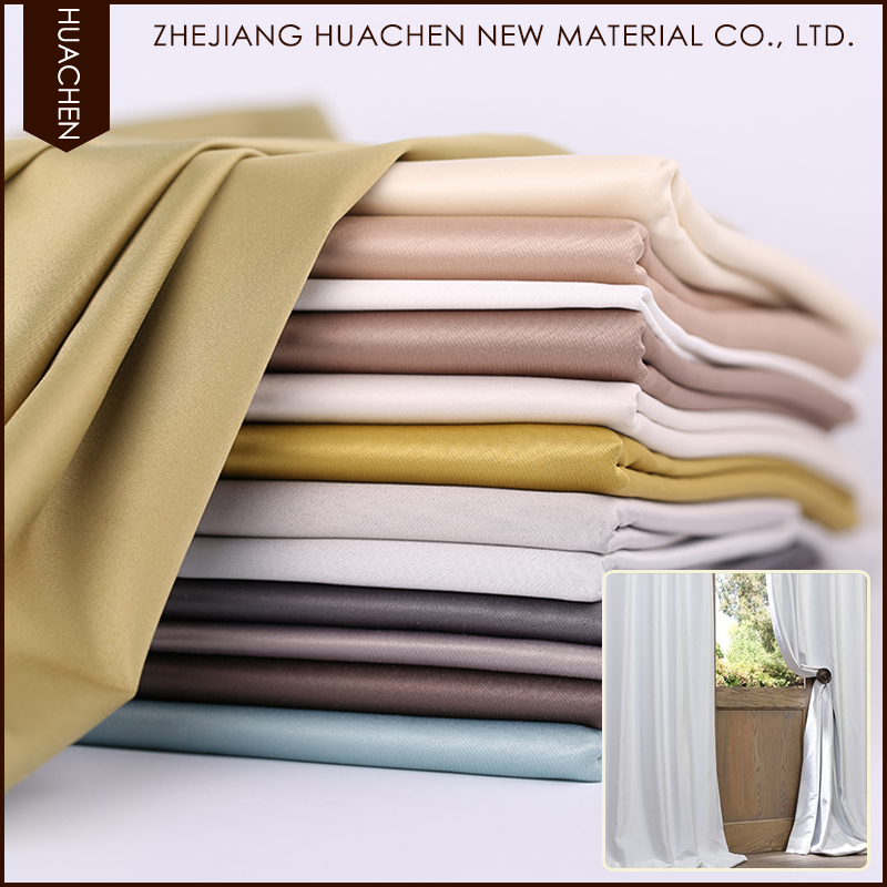 Eco-friendly silicon coated 100% polyester blackout continuous curtain fabric