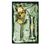Semi open gold rose with zinc alloy metal vase