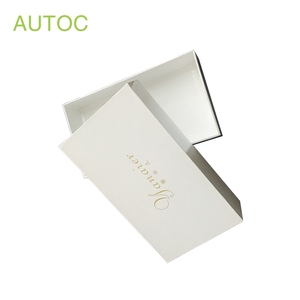 Customized rectangle white jewelry box paper gift packing box