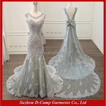 WD291 Sheath mermaid design lace wedding dresses with detachable train grey color