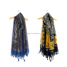 printed scarf fabric of sheer spun polyester voile