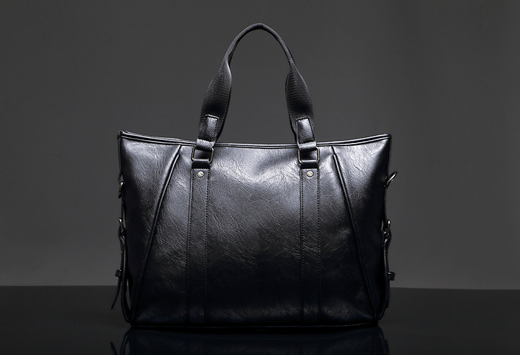 High Quality Beauty Handles Black PU Leather Bag Men Lawyer Briefcase