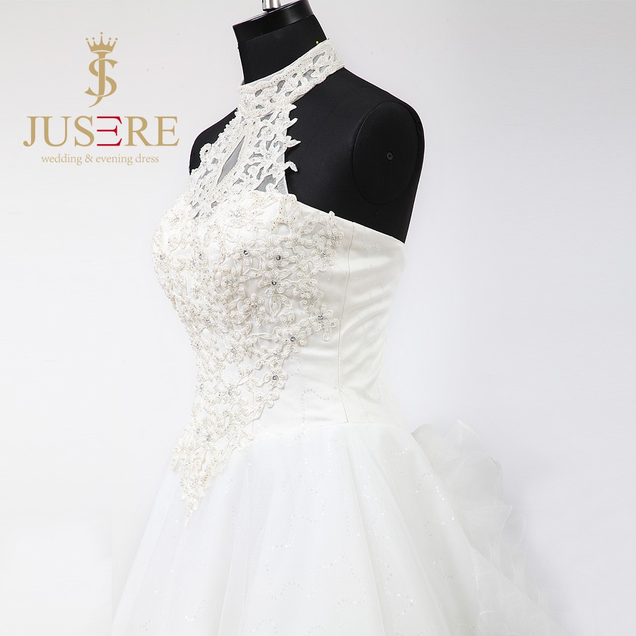 Newest Lace Up A Line Pearls Beaded 3D flowers Tiered Ruffles Halter Ivory Tulle Wedding Dresses 2016