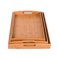 Rectangular Totally Bamboo Breakfast Coffee Table Serving Tray with Handles