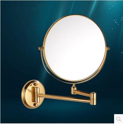 Gold bathroom mirror beauty mirror/8-inch wall-mounted folding retractable toilet sided mirror