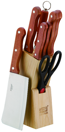High quality Food grade steak knives with natural wood block